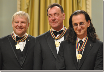 Alex Lifeson, Neil Peart, and Geddy Lee receive the Governor General Performing Arts Award