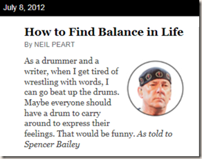Neil Peart in New York Times Magazine