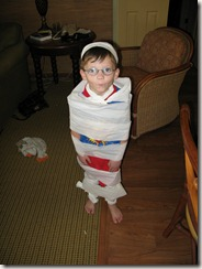 "Drew as ""Mummy Boy"""