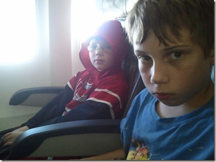 Drew and Cameron on the plane