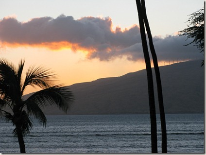 Sunset on Maui from Kihei - Wind turbines at the top of hill
