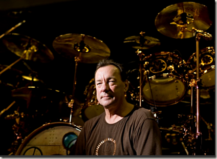 Rush drummer Neil Peart poses for a portrait in the band's Toronto rehearsal space, Wednesday afternoon, March 23, 2011.