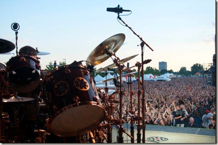 Photo of Neil Peart performing with Rush at Ottawa Bluesfest - photo by John Arrowsmith