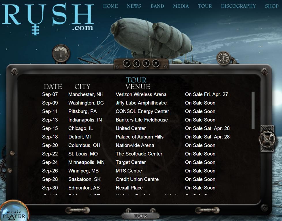 Rush tour dates