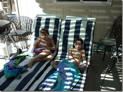 Cameron and Drew relaxing after a swim