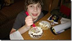 Cameron and his birthday pies